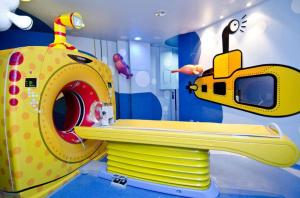 Pediatric CT scanner designed like a submarine