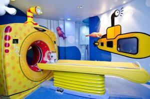 Pediatric CT scanner designed like a submarine