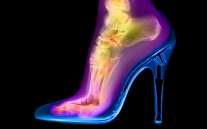 Turvey experimented by photographing his wife's foot in a high-heeled shoe.
