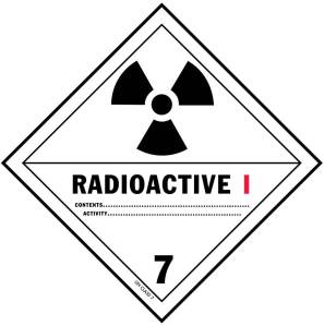 "Radioactive label ""White 1"": No special handling required, surface dose rate < 0.5 mrem/hr, exposure at 1 meter 0 mrem/hr"