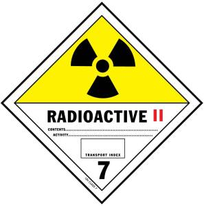"Radioactive label ""Yellow 2"": Special handling required, surface dose rate < 50 mrem/hr, exposure at 1 meter < 1mrem/hr"