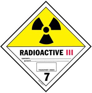 "Radioactive label ""Yellow 3"": Special handling required, surface dose rate < 200 mrem/hr, exposure at 1 meter < 10 mrem/hr"